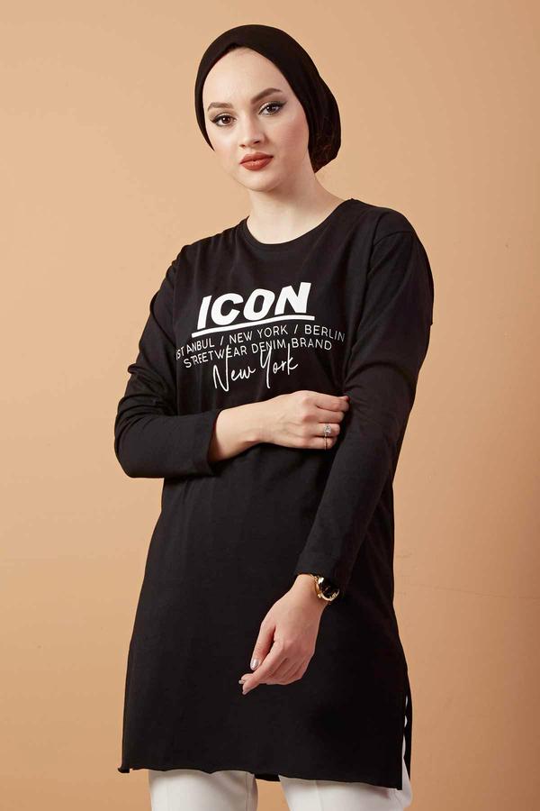 Icon Yazı Baskılı Sweat 120NY3212 Siyah