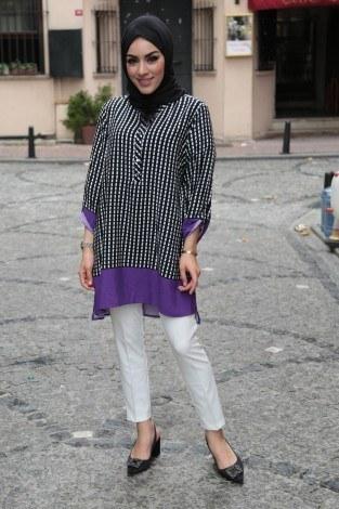 - İki Renk Desenli Tunik BİG 5649-3