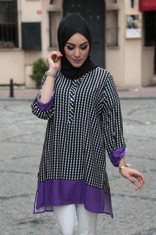 - İki Renk Desenli Tunik BİG 5649-3 (1)