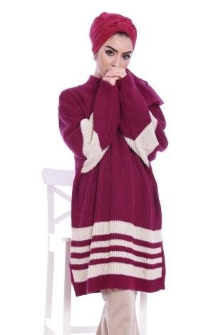 İki Renk Oversize Kazak 9370-22 - Thumbnail