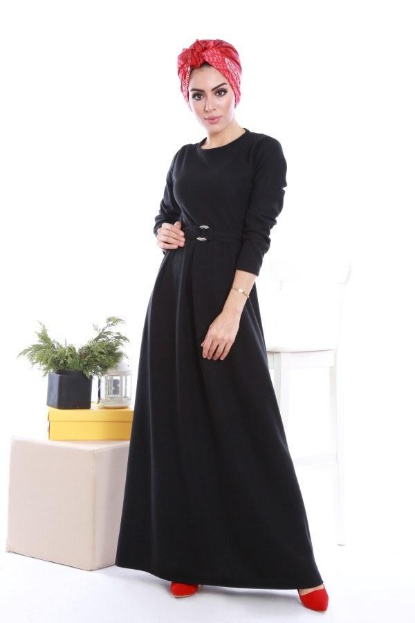 - Beli Kuşaklı Selanlik Örme Elbise 6355-01