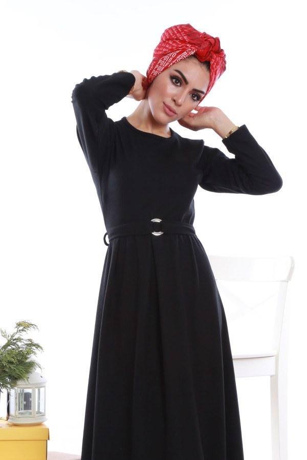 - Beli Kuşaklı Selanlik Örme Elbise 6355-01 (1)