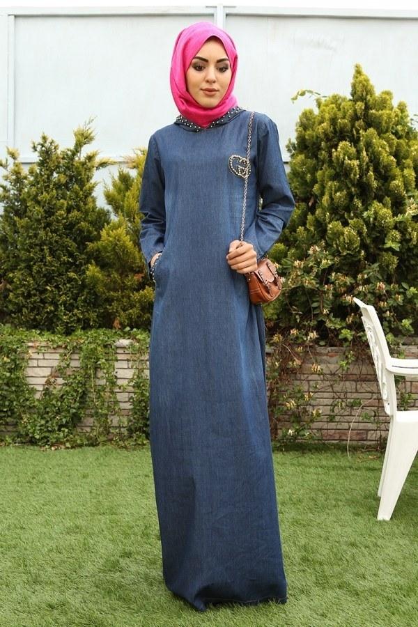 - İnci Baskılı Kapşonlu Kot Elbise 9128-1