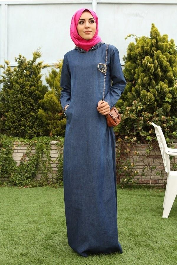 İnci Baskılı Kapşonlu Kot Elbise 9128-1
