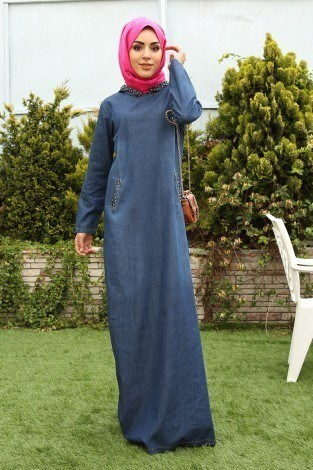 İnci Baskılı Kapşonlu Kot Elbise 9128-1 - Thumbnail