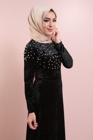 - İnci Detaylı Kadife Elbise 2397-3 Siyah (1)