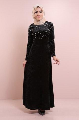 - İnci Detaylı Kadife Elbise 2397-3 Siyah