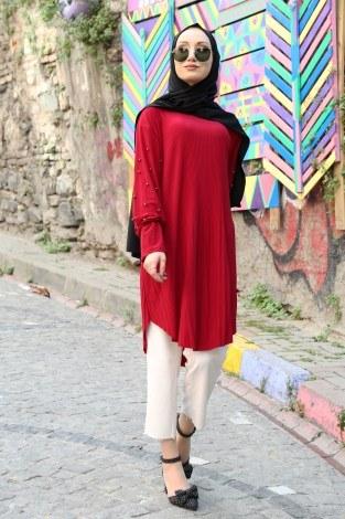 - İnci Detaylı Piliseli Tunik 5340-7 Kırmızı