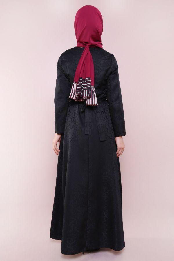 İnci Kemerli Jakar Elbise 2890-1 Siyah