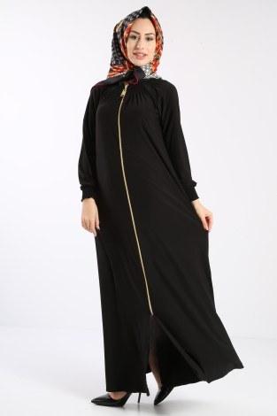 - Fermuarlı Ferace Elbise 1138-01