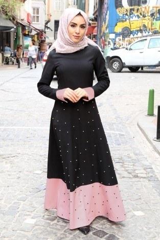 - İncili Çift Renk Elbise 151515-2