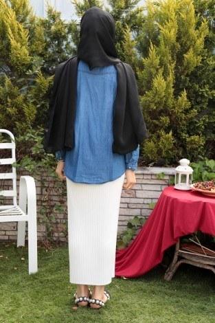 İncili Kot Gömlek 9078-1 - Thumbnail