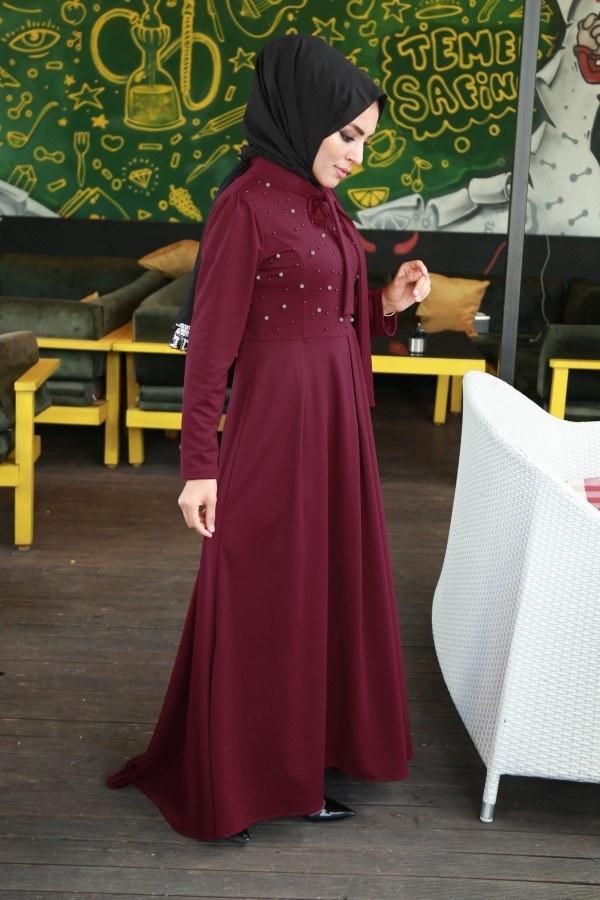 İncili Şık Tesettür Elbise 829901-07
