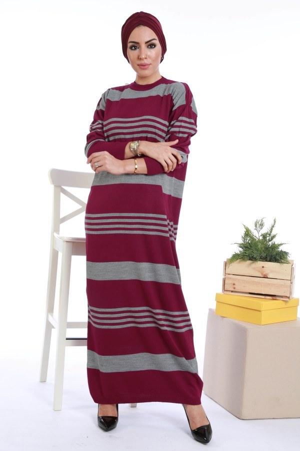 - Çizgili Triko Elbise K2557-01