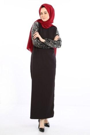 - Pul Payet Detaylı Elbise 5560-01