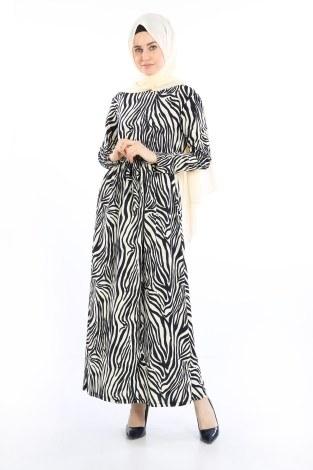 - Beli Kuşakli Desenli Elbise 8546-01 Lacivert