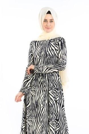 - Beli Kuşakli Desenli Elbise 8546-01 Lacivert (1)