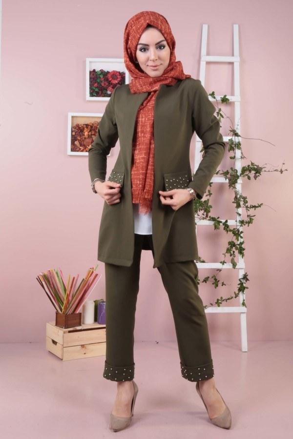 İncili Ceket Pantolon İkili Takım 987650-07