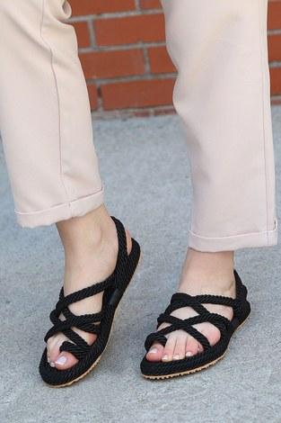 - İp Örgülü Sandalet 6154-1 Siyah