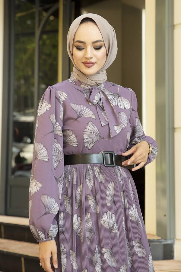 İstiridye Desenli Eteği Pliseli Elbise Lila