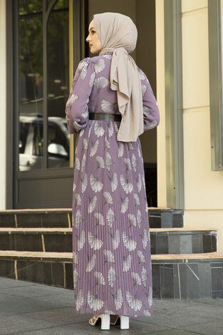 İstiridye Desenli Eteği Pliseli Elbise Lila - Thumbnail