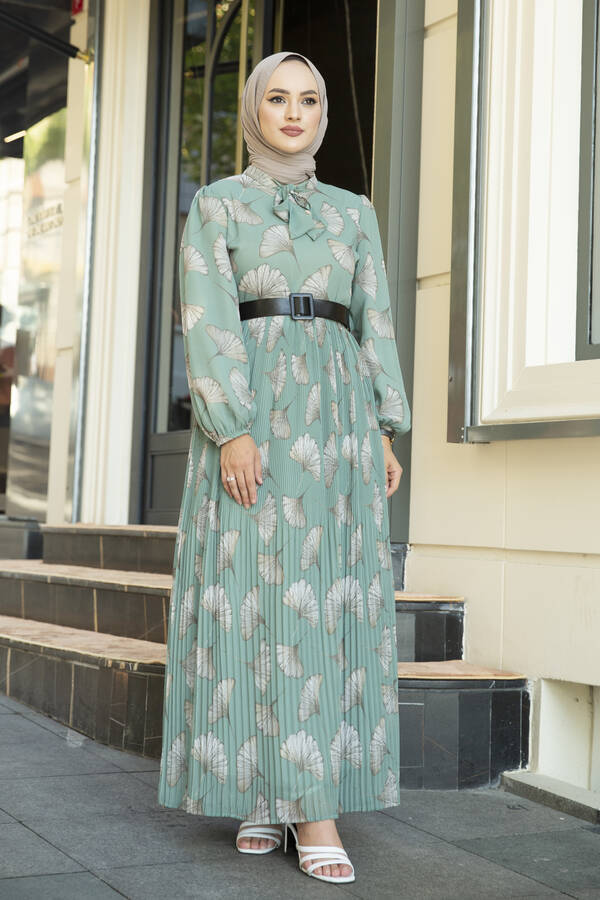 İstiridye Desenli Eteği Pliseli Elbise Mint