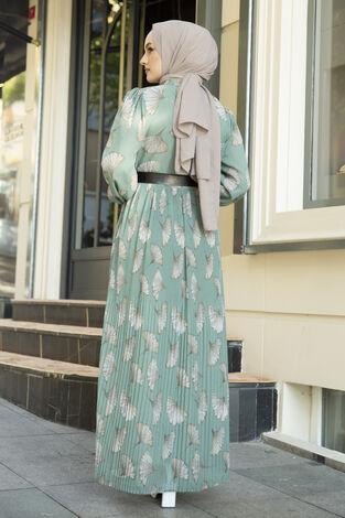 İstiridye Desenli Eteği Pliseli Elbise Mint - Thumbnail