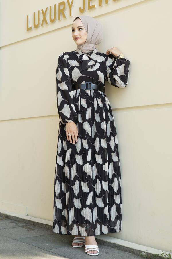 İstiridye Desenli Eteği Pliseli Elbise Siyah