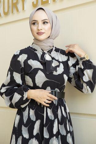 İstiridye Desenli Eteği Pliseli Elbise Siyah - Thumbnail