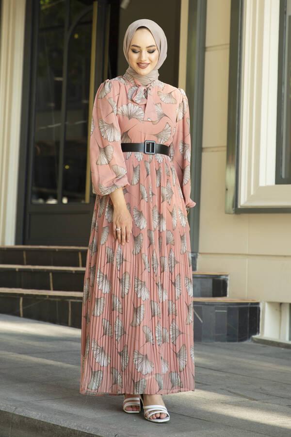 İstiridye Desenli Eteği Pliseli Elbise Yavruağzı