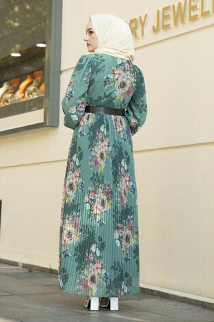 Çiçek Desenli Eteği Pliseli Elbise Yeşil - Thumbnail