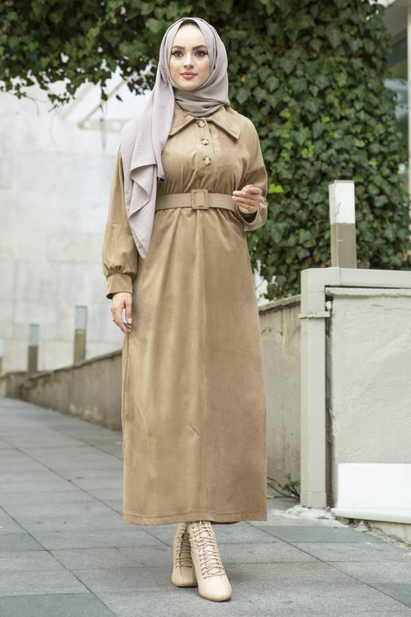 Kadife Fitilli Elbise 100MD10110 Camel