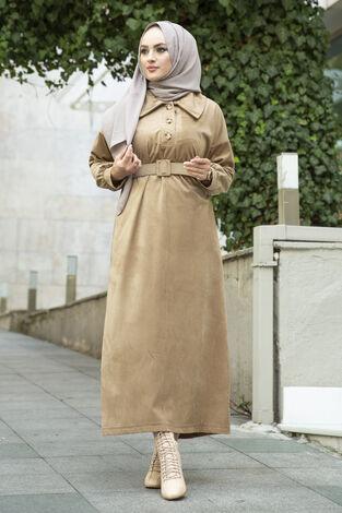 Kadife Fitilli Elbise 100MD10110 Camel - Thumbnail