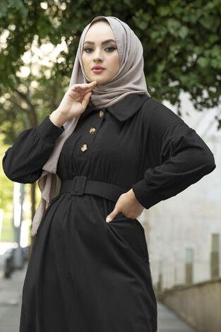Kadife Fitilli Elbise 100MD10110 Siyah - Thumbnail