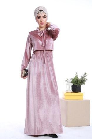 - Kadife fularlı elbise 7785-02