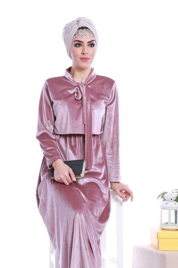- Kadife fularlı elbise 7785-02 (1)