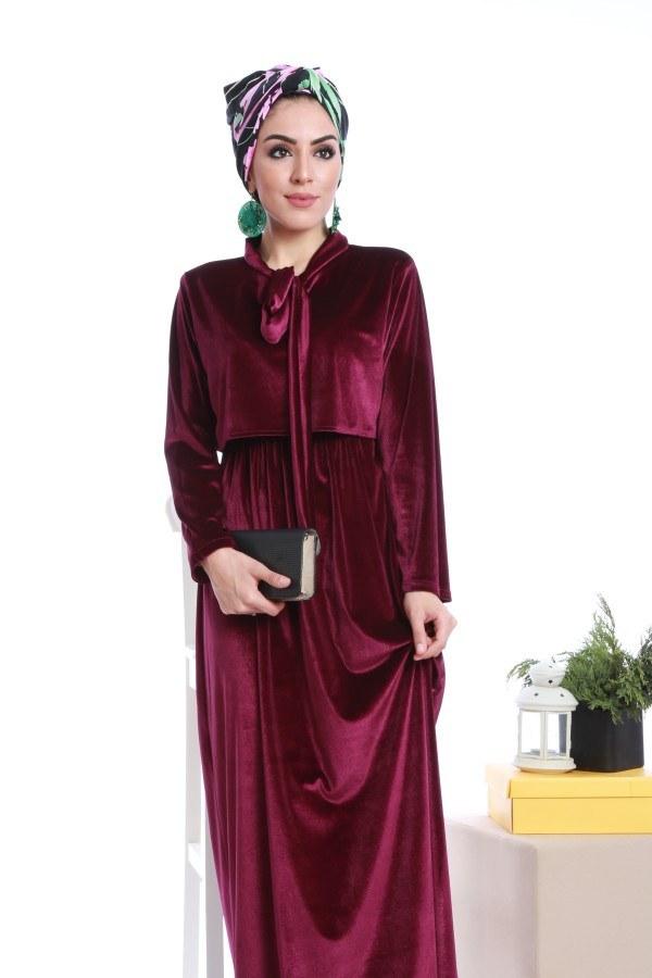 - Kadife fularlı elbise 7785-03 (1)