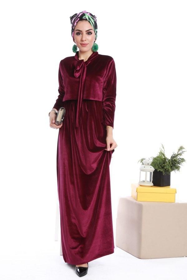 - Kadife fularlı elbise 7785-03