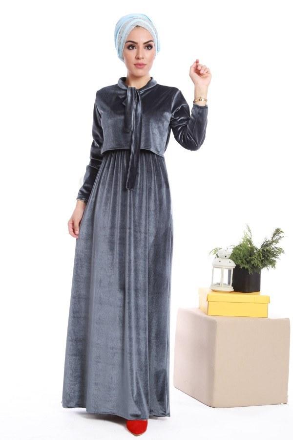 - Kadife fularlı elbise 7785-04