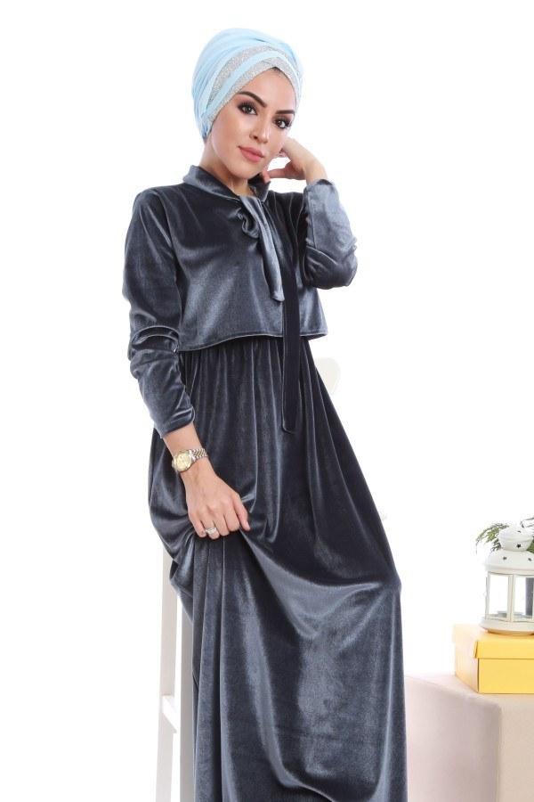 - Kadife fularlı elbise 7785-04 (1)