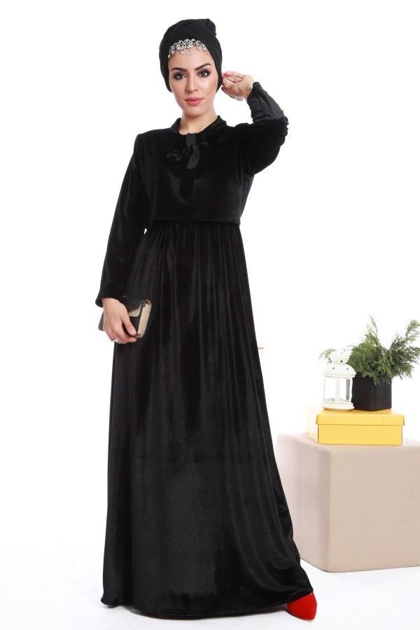 - Kadife fularlı elbise 7785-05
