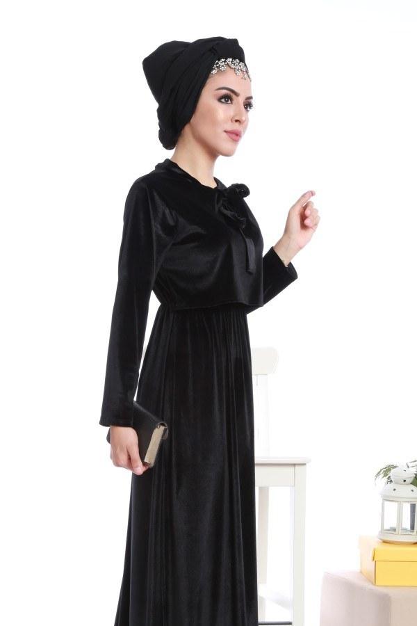 - Kadife fularlı elbise 7785-05 (1)