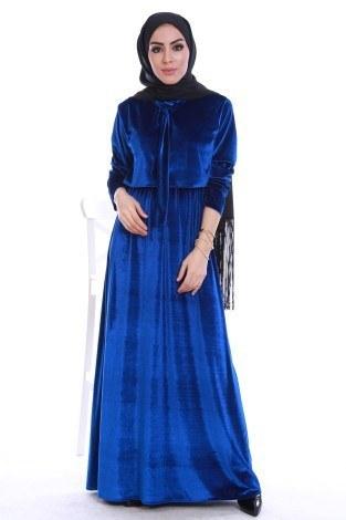 - Kadife fularlı elbise 7785-06