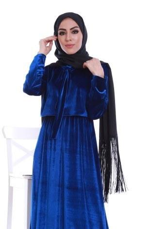 - Kadife fularlı elbise 7785-06 (1)