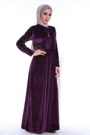 - Kadife fularlı elbise 7785-07