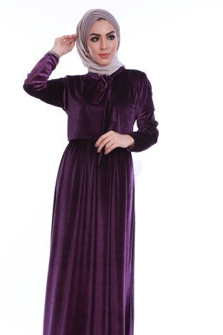 - Kadife fularlı elbise 7785-07 (1)