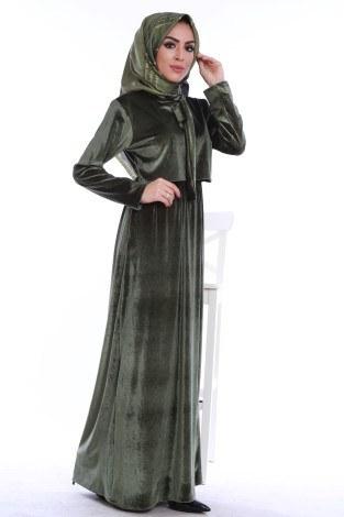 - Kadife fularlı elbise 7785-08
