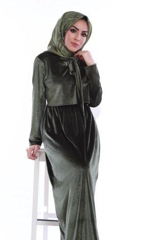 - Kadife fularlı elbise 7785-08 (1)