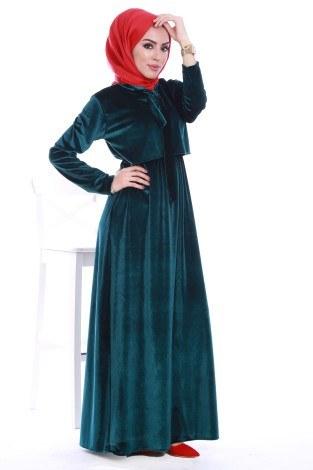 - Kadife fularlı Elbise 7852-04 (1)