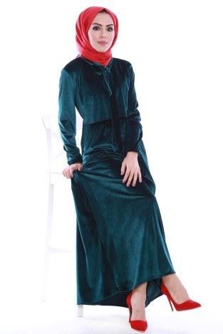 - Kadife fularlı Elbise 7852-04